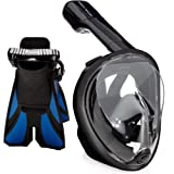 Ocean View Snorkel Set - Full Face Snorkel Mask with Adjustable Diving Fins