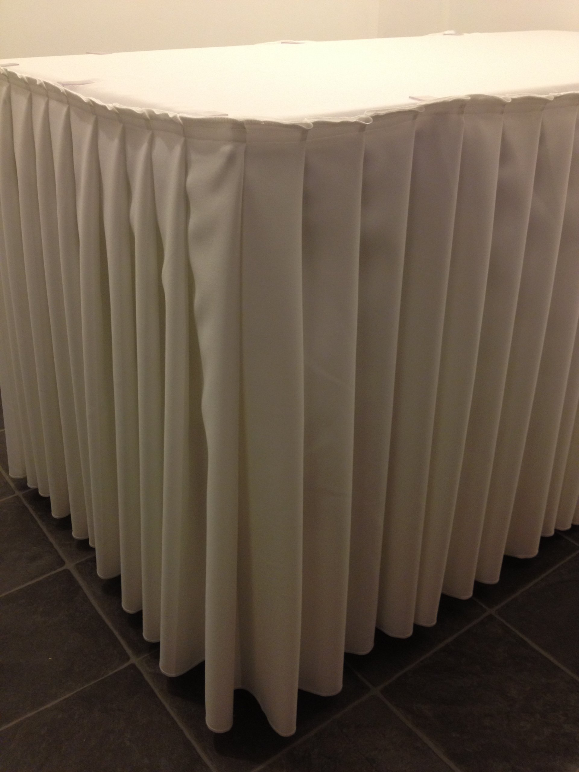Ivory Pleated Top Table Skirt / Buffet Table Skirt Polyester Fabric machine washable 18 ft by Hope Textiles