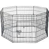PawHut - Recinto per Cani Gatti Cuccioli Roditori Recinzione Rete Gabbia 8 Pezzi 61 x 61cm Nero