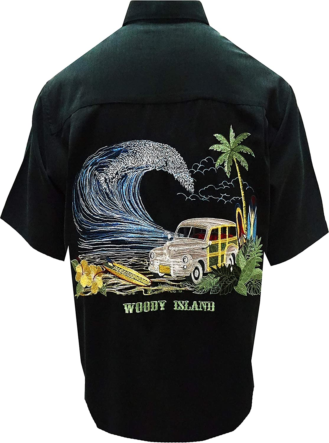 Bamboo Cay Men's Woody Island Car Embroidered Tropical Short Sleeve Shirt