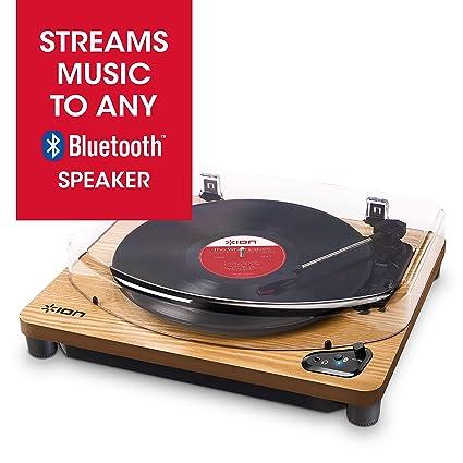 ION Audio Air LP Wood - Tocadiscos de vinilo Bluetooth - reproducción inalámbrica y conversión de discos de 3 velocidades - 33 1/3, 45 y 78 RPM, ...