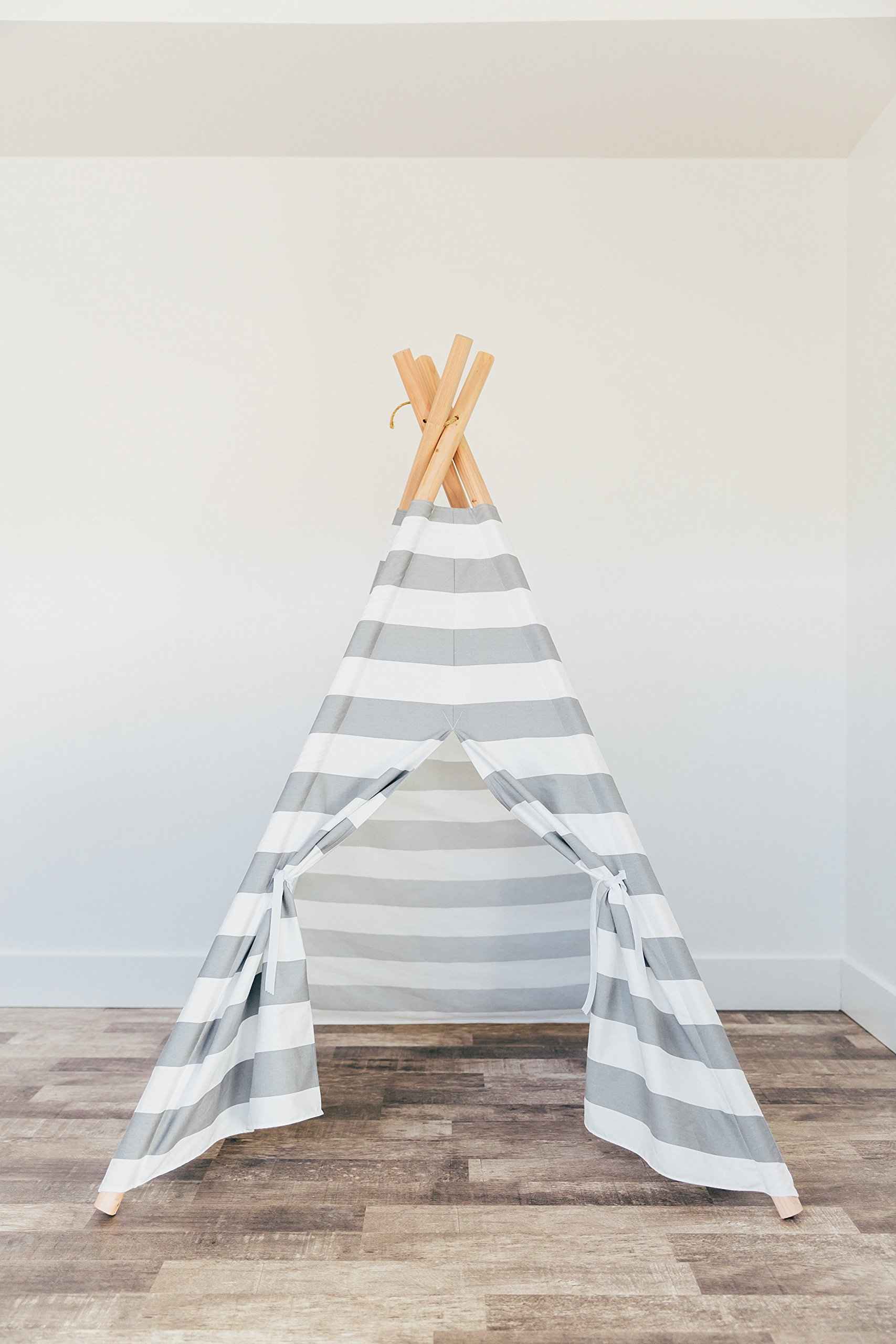 Large gray and white striped kids teepee play tent with padded play mat