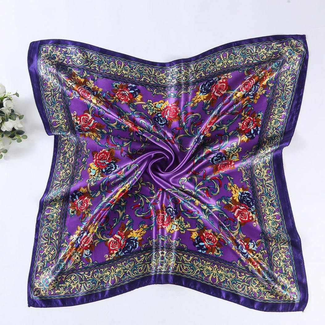 Saingace 1 Pcs Women Lady Floral Printed Square Scarf Head Wrap Kerchief Neck Satin Shawl 90*90Cm