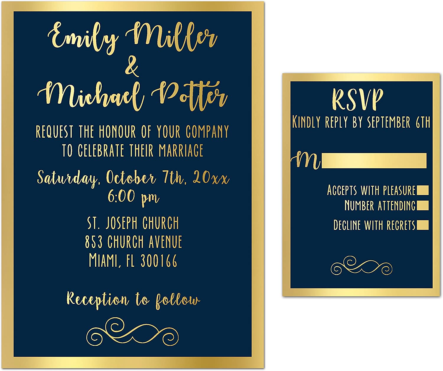 Amazon.com: 100 Wedding Invitations Gold Navy Blue Elegant + ...