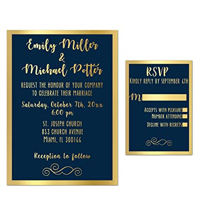 amazon com 100 wedding invitations gold navy blue elegant