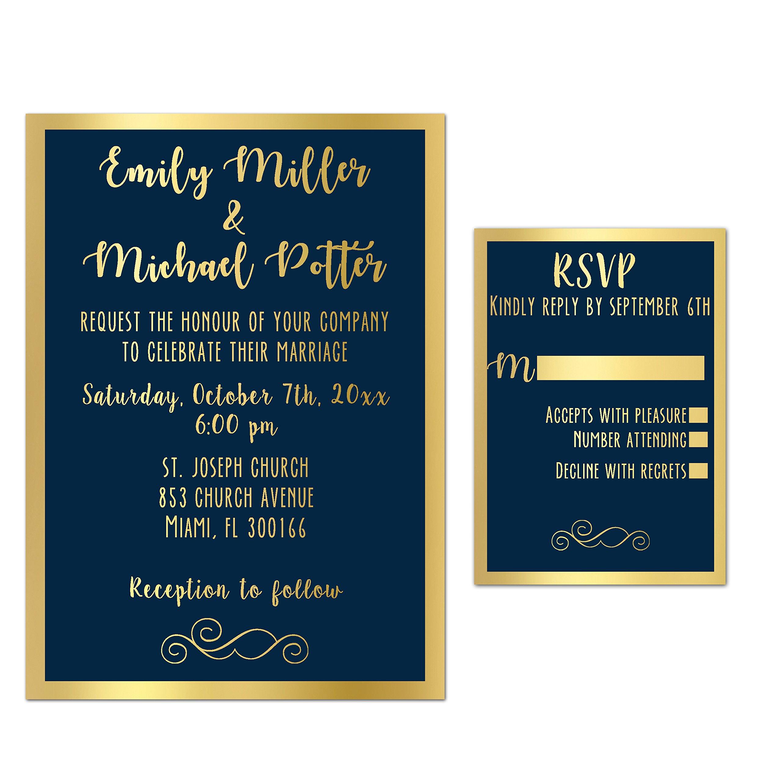 100 Wedding Invitations Gold Navy Blue Elegant + Envelopes + Response Cards Set