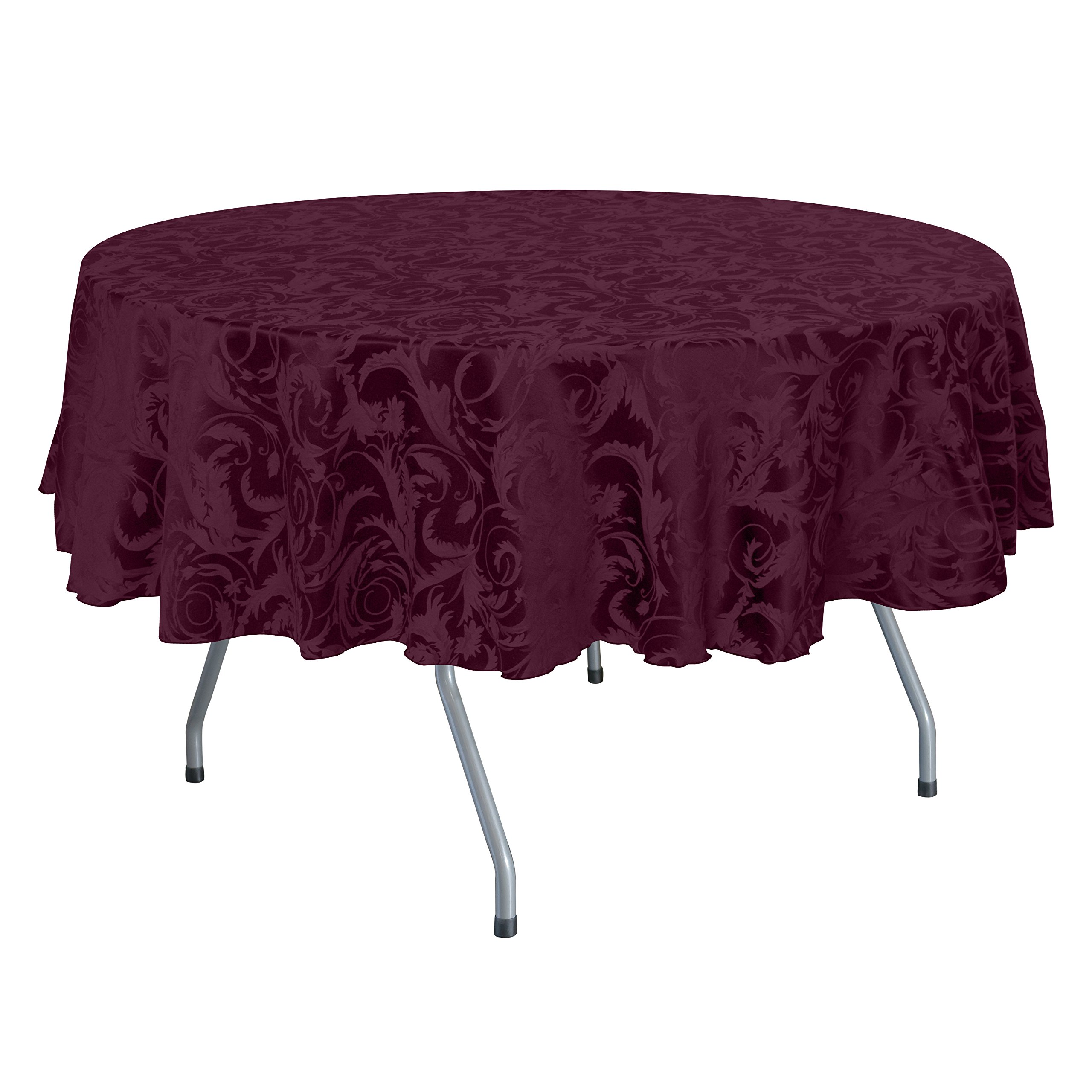 Ultimate Textile (5 Pack) Damask Melrose 60 x 120 Inch Oval Tablecloth - Home Dining Collection - Floral Leaf Scroll Jacquard Design, Burgundy