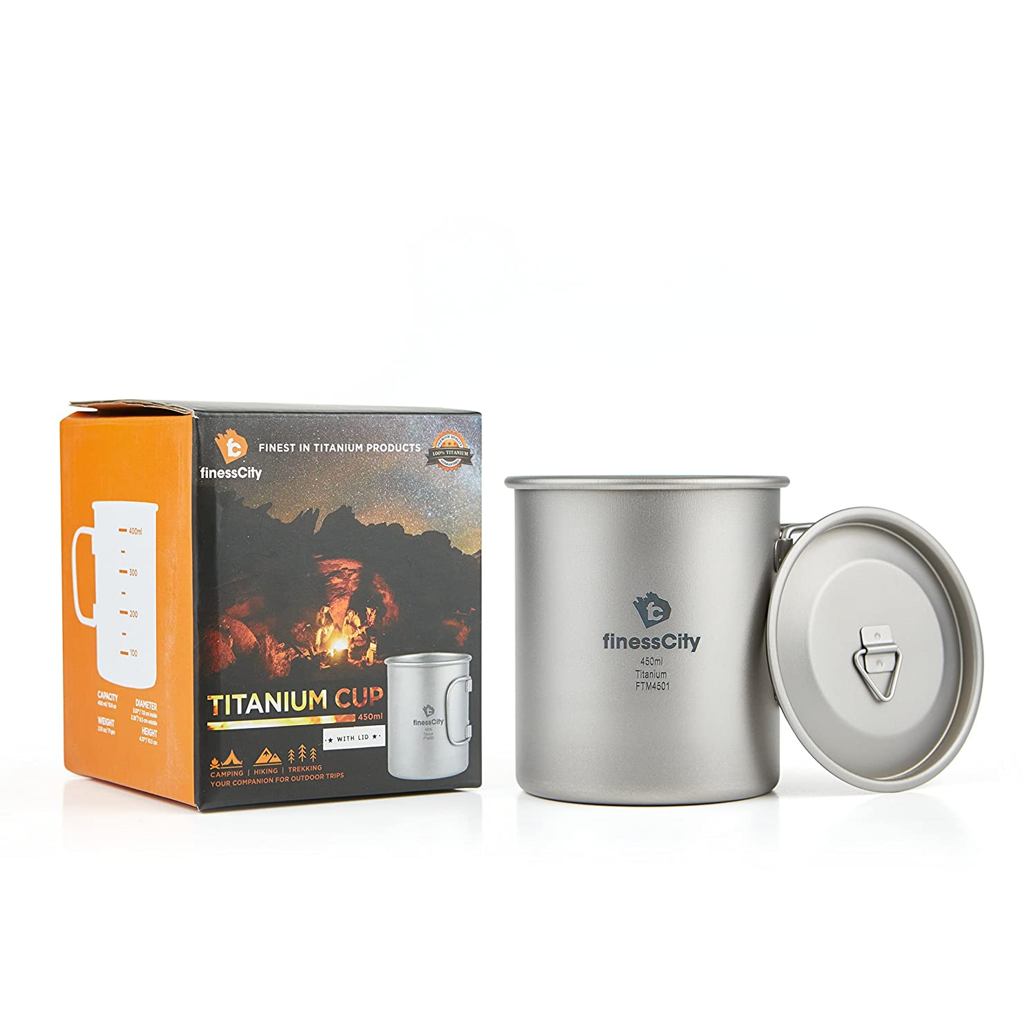 Camping Cup (450ml/ 600ml) With & Without Lid, Extra Strong & Ultra Lightweight (Ti) Camping Mug With Measurement Marks, Titanium Cup for Hiking / Backpacking / Camping in Easy to Store Cloth Case 450ml Camping Cup Without Lid finessCity FTM4501