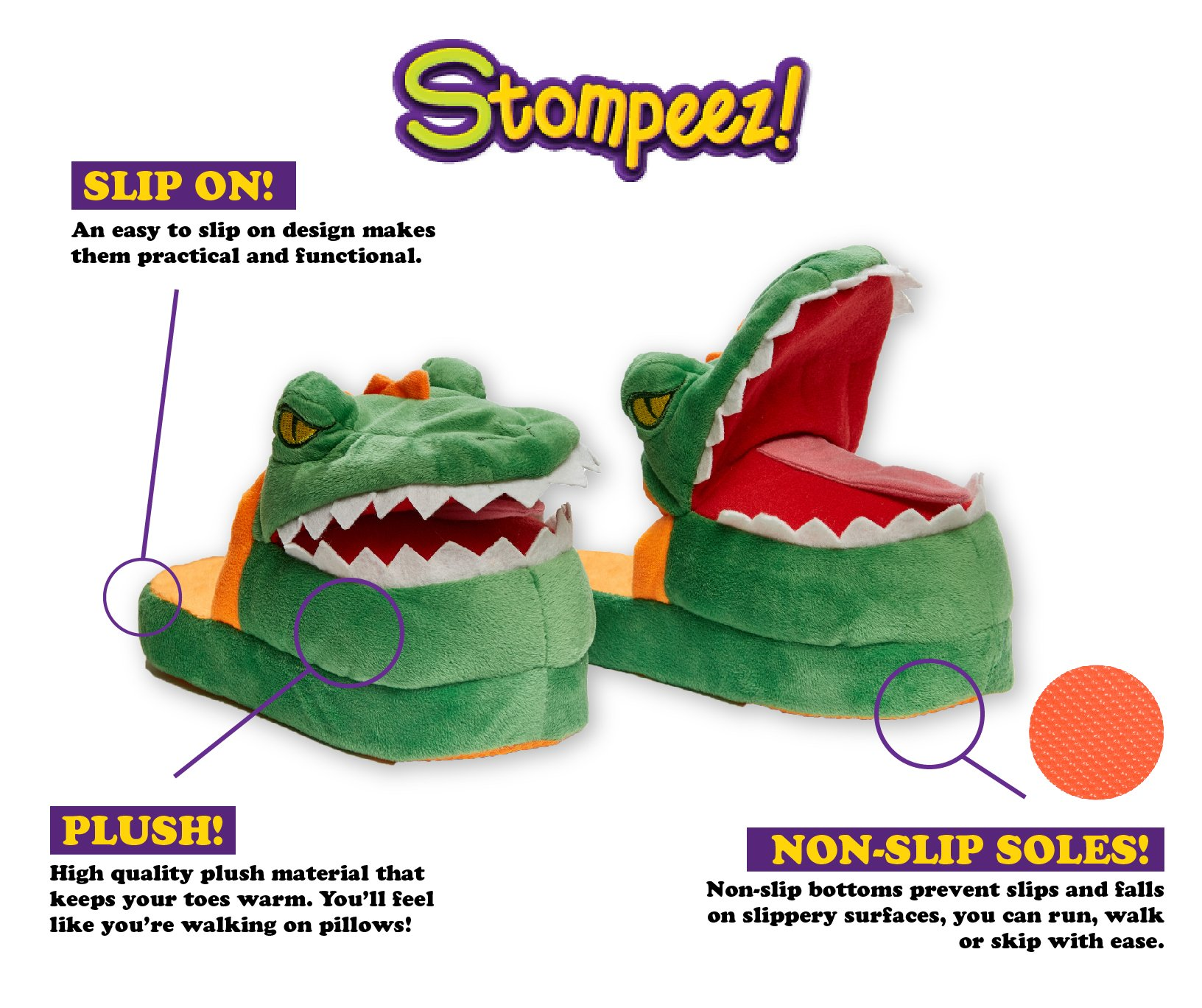 Stompeez Animated Dinosaur T-Rex Plush Slippers - Ultra Soft and Fuzzy - Mouth Opens and closes as You Walk - Medium by Stompeez (Image #3)
