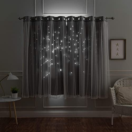 Aurora Home Star Punch Tulle Overlay Blackout Curtain Panel Pair Dark Grey 52″ W x 84″ L 84 Inche