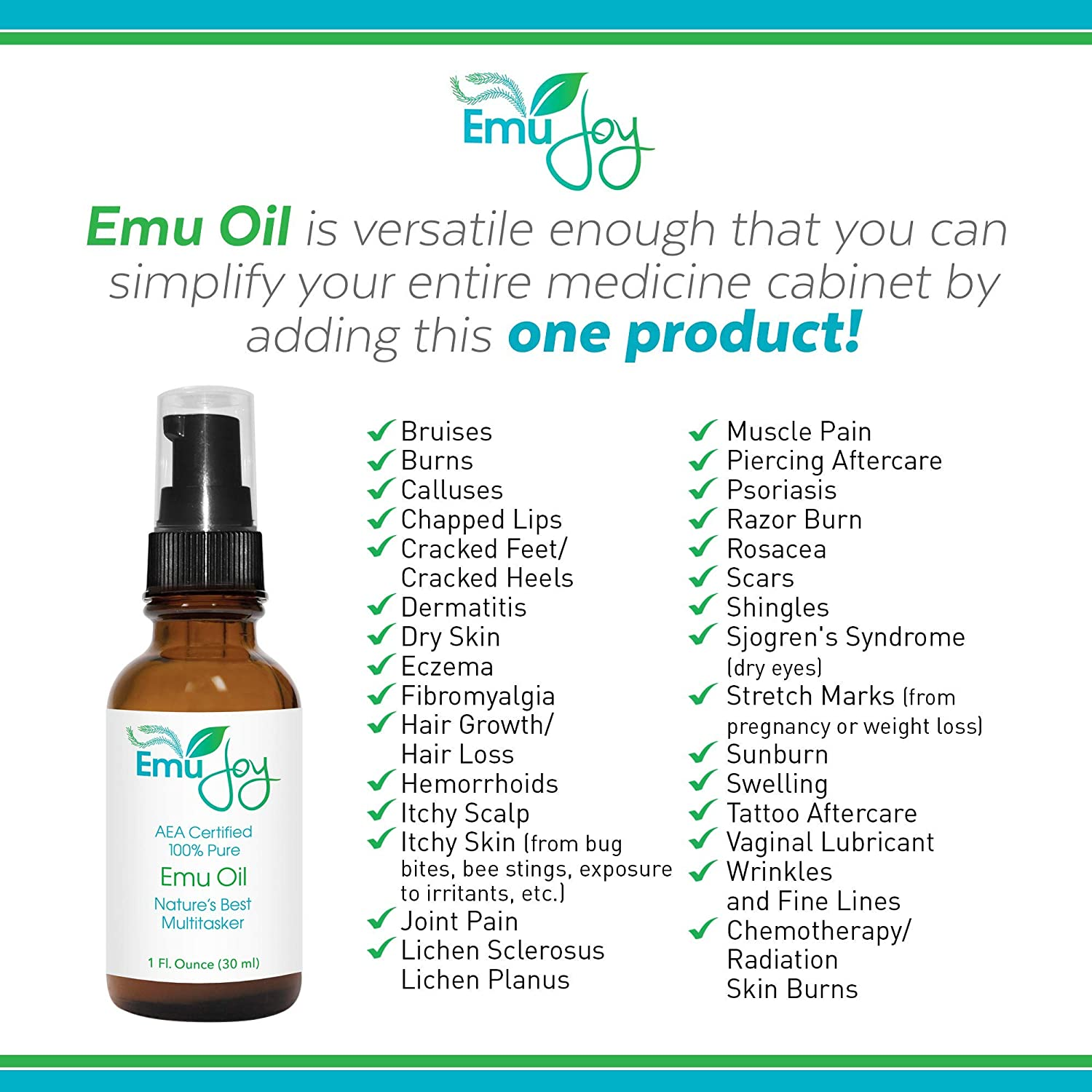 100% Pure Emu Oil AEA Certified | Chemo and Radiation Burn Skin Care  Piercing Aftercare Tattoo After