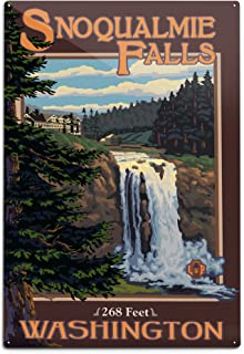 product image for Lantern Press Snoqualmie Falls, Washington, Day (12x18 Aluminum Wall Sign, Wall Decor Ready to Hang)