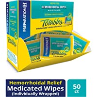 Preparation H (50Count Flushable Medicated Hemorrhoid Wipes, Maximum Strength Relief with Witch Hazel & Aloe, Irritation Relief Wipes to Go