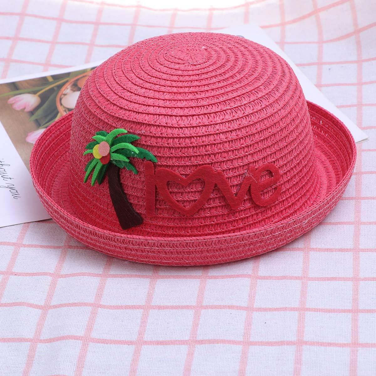 Watermelon Red FENICAL Kids Straw Hat Kids Beach Hat