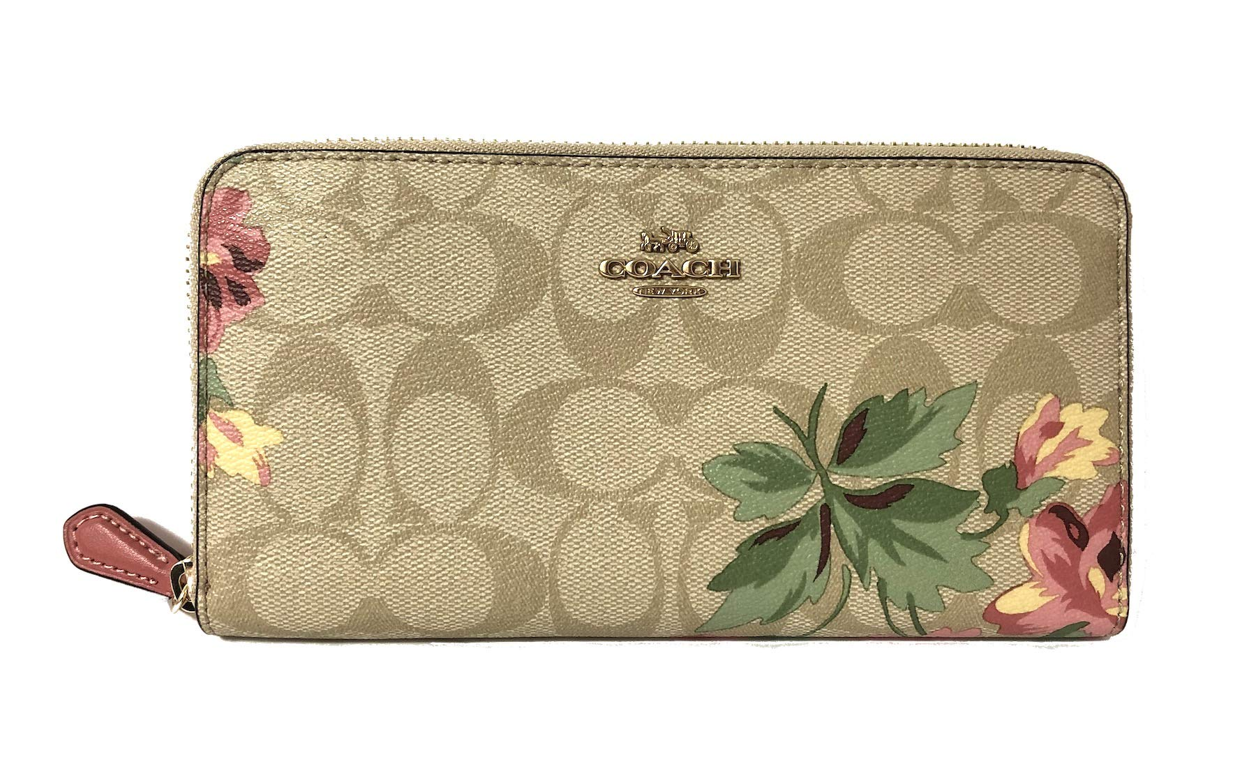 Coach Pebble Leather Accordion Zip Around Wallet (IM/Light Khaki Pink Multi)