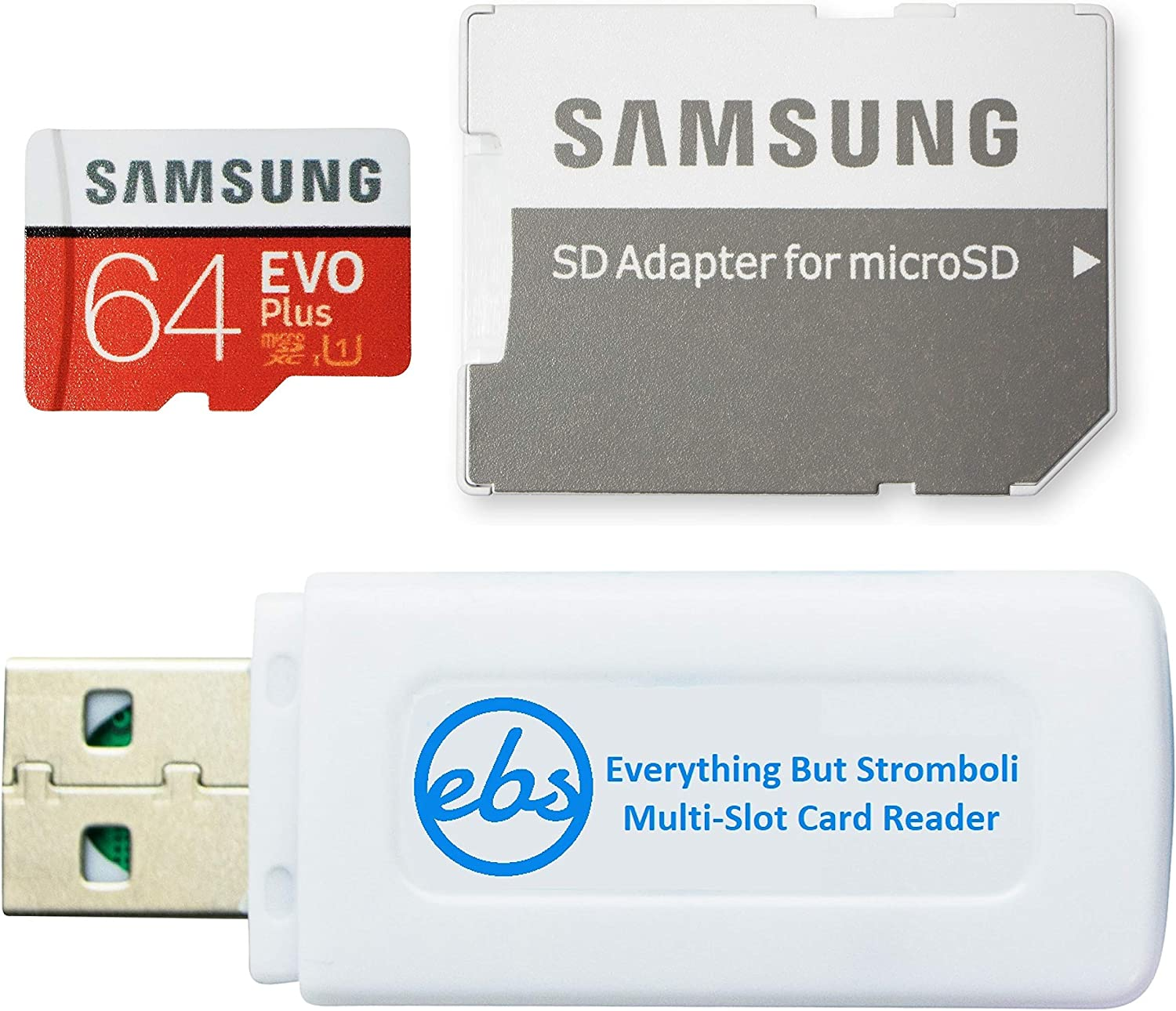 Samsung Evo Plus 64GB Micro SDXC Memory Card Class 10 (MB-MC64) Works with Android Galaxy Cell Phones A10e, A10s, A30s, A50s, A90 5G Bundle with (1) Everything But Stromboli MicroSD & SD Card Reader