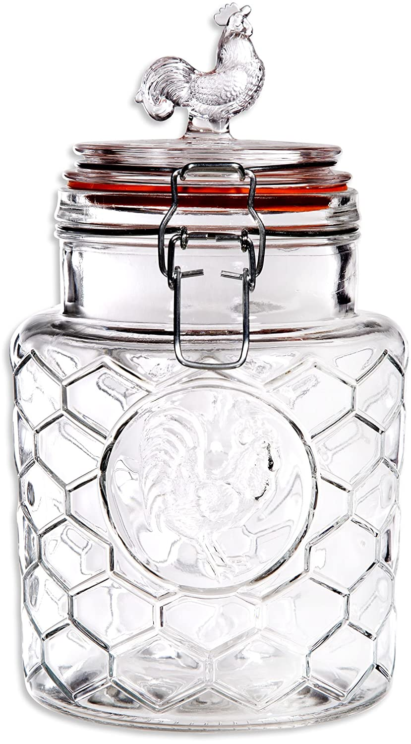 amazon com palais rooster high quality clear glass canister amazon com palais rooster high quality clear glass canister with bail trigger locking lids 24 oz 7