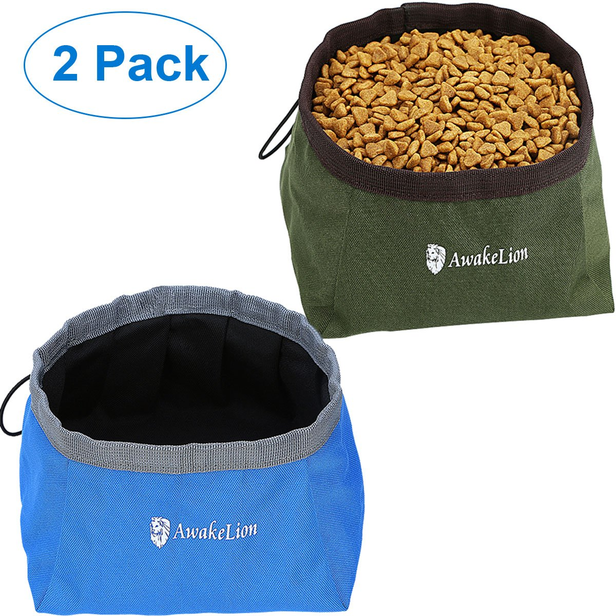 Collapsible Dog Bowl, Awakelion Portable Foldable Travel Pet Bowl For Food And Water (Green+Blue)