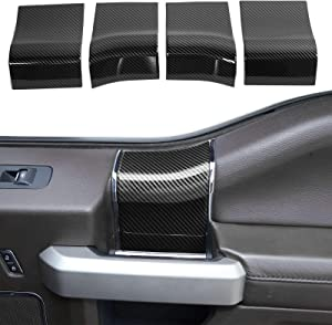 Voodonala for F-150 Inner Door Handles Top Cover for 2015-2020 Ford F150, ABS Carbon Fiber 4pcs