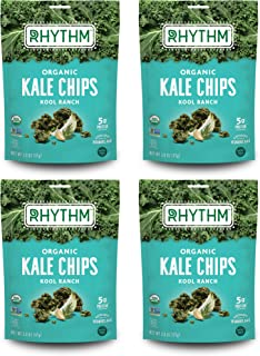product image for Rhythm Superfoods Kale Chips, Kool Ranch, Organic and Non-GMO, 2.0 Oz (Pack of 4), Vegan/Gluten-Free Superfood Snacks