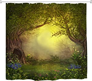 Mystic Forest Tree Shower Curtain Fabric, Enchanted Forest Fantasy Nature Landscape with Flower Green Jungle Print Fabric Waterproof Bathroom Decor with Hooks, 72 x 72 inch
