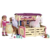 Glitter Girls by Battat – All Asparkle Acres Riding Stable Set – Accessory set for...