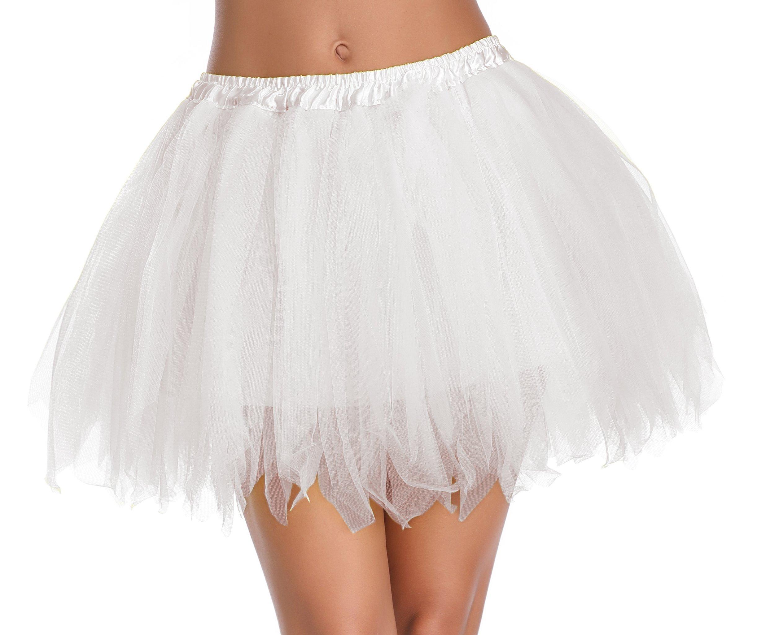 v28 Women's Teen's 1950s Vintage Tutu Tulle Petticoat Ballet Bubble Skirt (Regular Size (US: 0-12), White)