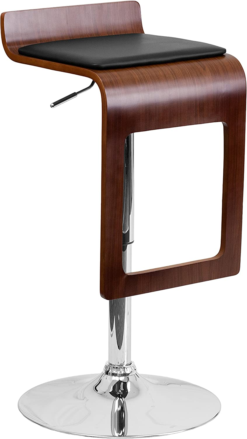 Flash Furniture Walnut Bentwood Adjustable Height Barstool with Drop Frame and Black Vinyl Seat