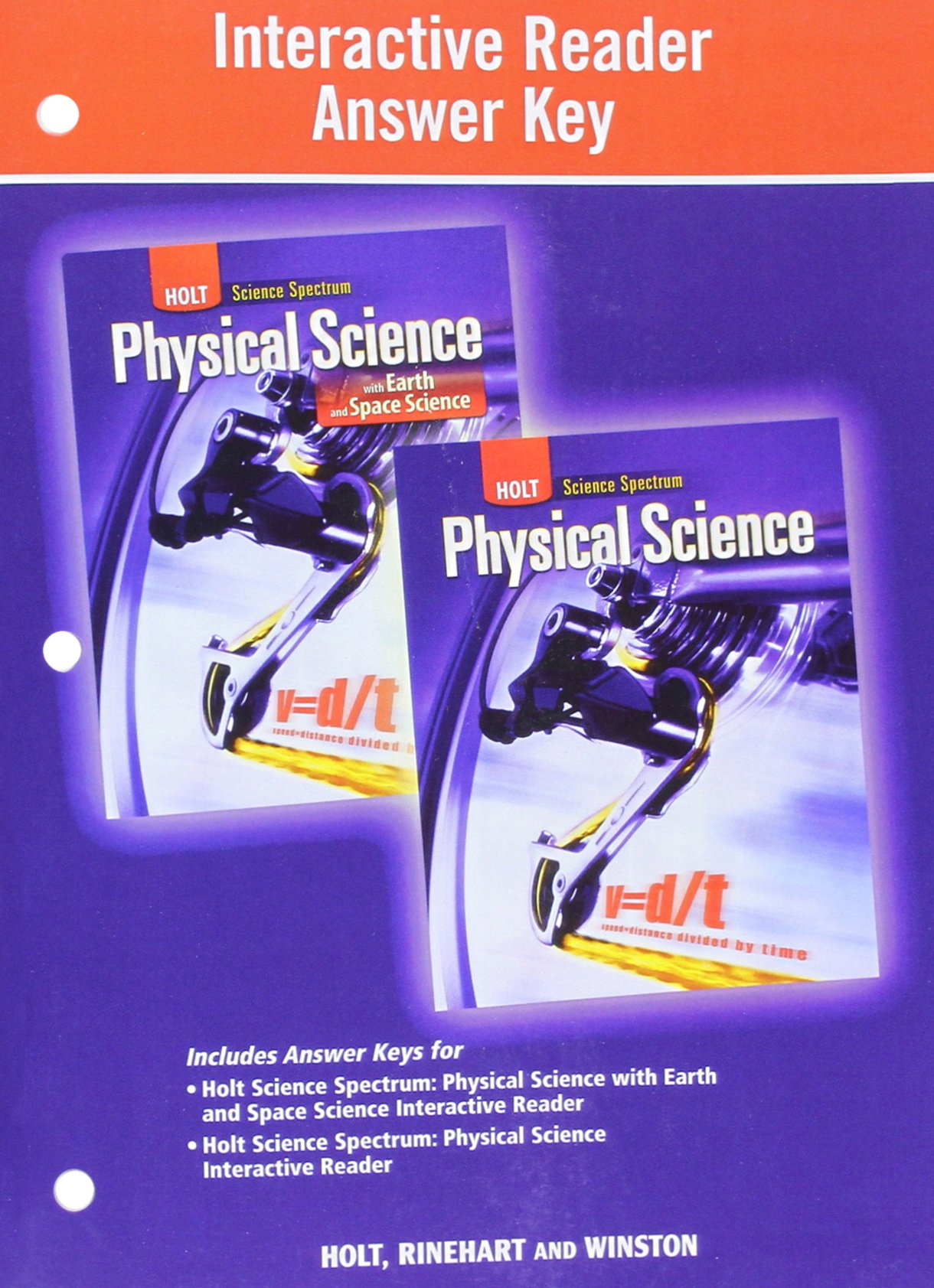 Holt Science Spectrum: Physical Science with Earth and Space Science:  Interactive Reader Answer Key: 9780030939273: Amazon.com: Books
