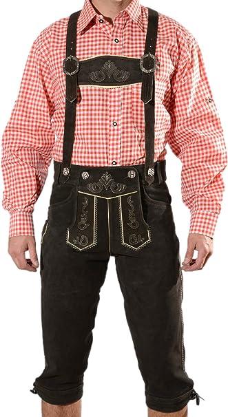 Trachtenlederhose in Gr/ö/ße 46 bis 60 bayerische Trachten Lederhosen Lederhosen Herren Trachten Lederhose Oktoberfest Kniebundhose mit Tr/ägern in 3 Farben