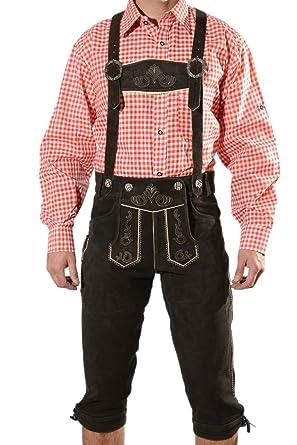 63a2a7c656f16 Lederhosen traditionnels bavarois pour hommes, lederhosen traditionnel avec  bretelles, original en brun foncé, Oktoberfest, taille 44, 46, 48, 50, 52,  54, ...