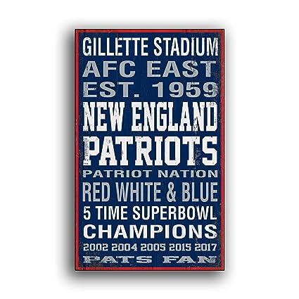 Amazon Ruskin352 New England Patriots Football Print On Wood