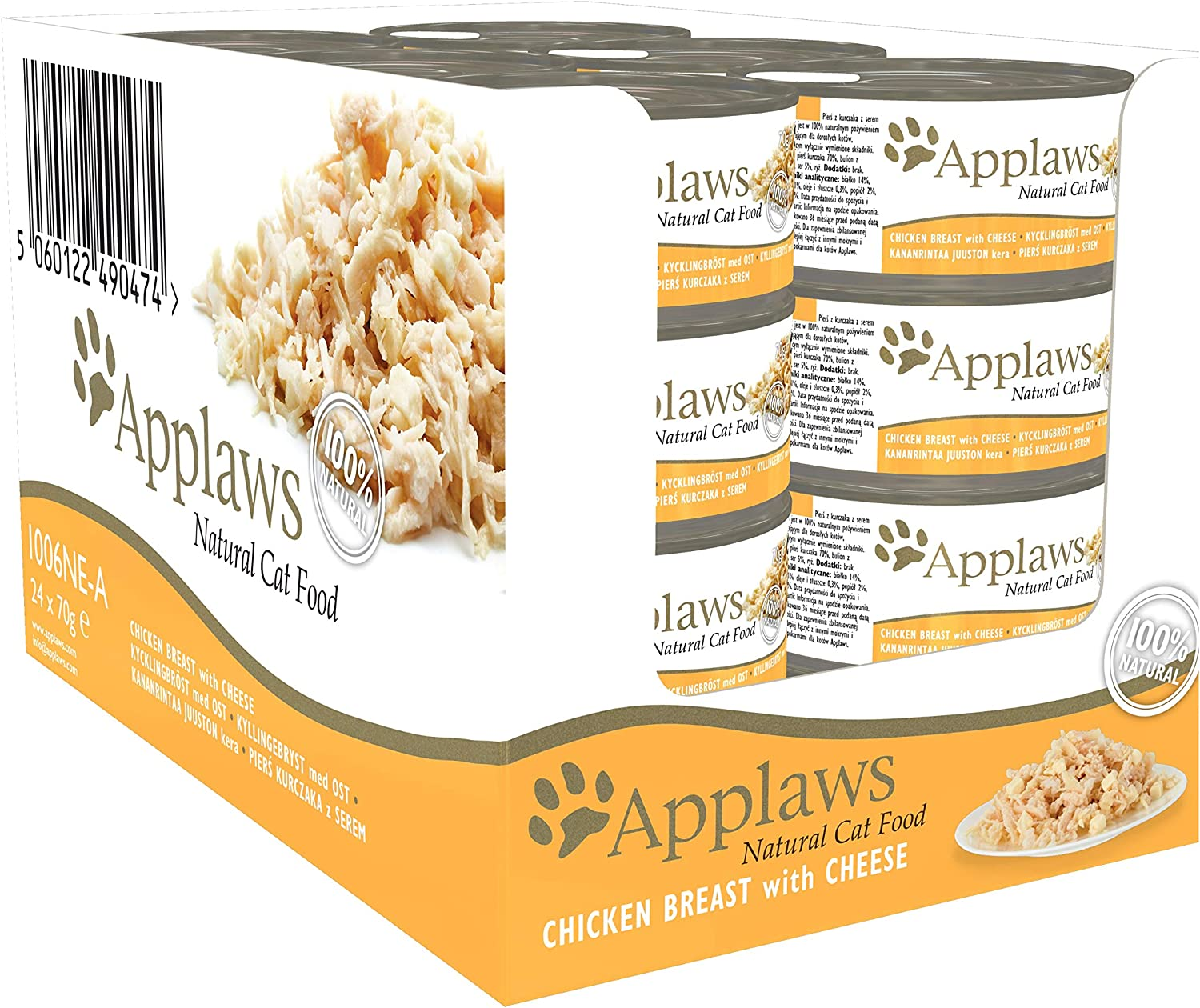 Applaws 100% Natural Wet Cat Food, Chicken with Cheese in Broth, 70 g Tin Cans (Pack of 24)