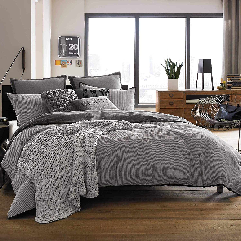 Kenneth Cole Reaction Home Oxford European Pillow Sham in Black Stripe