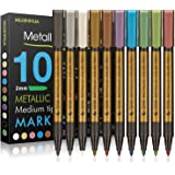 MUJINHUA Metallic Marker Pens, Set of 10 Colors Paint Markers for Black Paper, Rock Painting, Scrapbooking Crafts, Card Makin