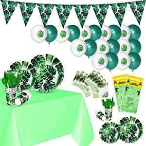 La fete Tropical Hawaiian Jungle Party Supplies 139PCS Luau Safari Plates and Napkins Party Supply Decor w/Table Cover Cup Banner for Birthday Party, Baby Shower, Summer Pool, Wedding