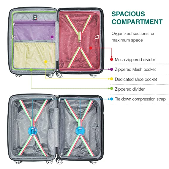 Amazon.com | Villago Hard Shell Carry On USB Port Polycarbonate 8 Wheel Spinner with Slash Proof Zipper TSA Lock Expandable Zipper and Corner Bumpers ...