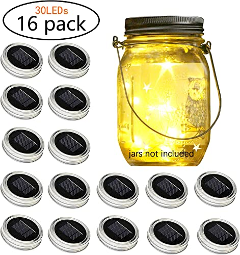Solar-Powered Mason Jar Lid String Lights, 16 Packs of 30 LED Fairy Tale String Lights with 16 Hangers and 6 PVC for Wedding, Courtyard, Garden, Family Party Birthday Party Decoration No Jars