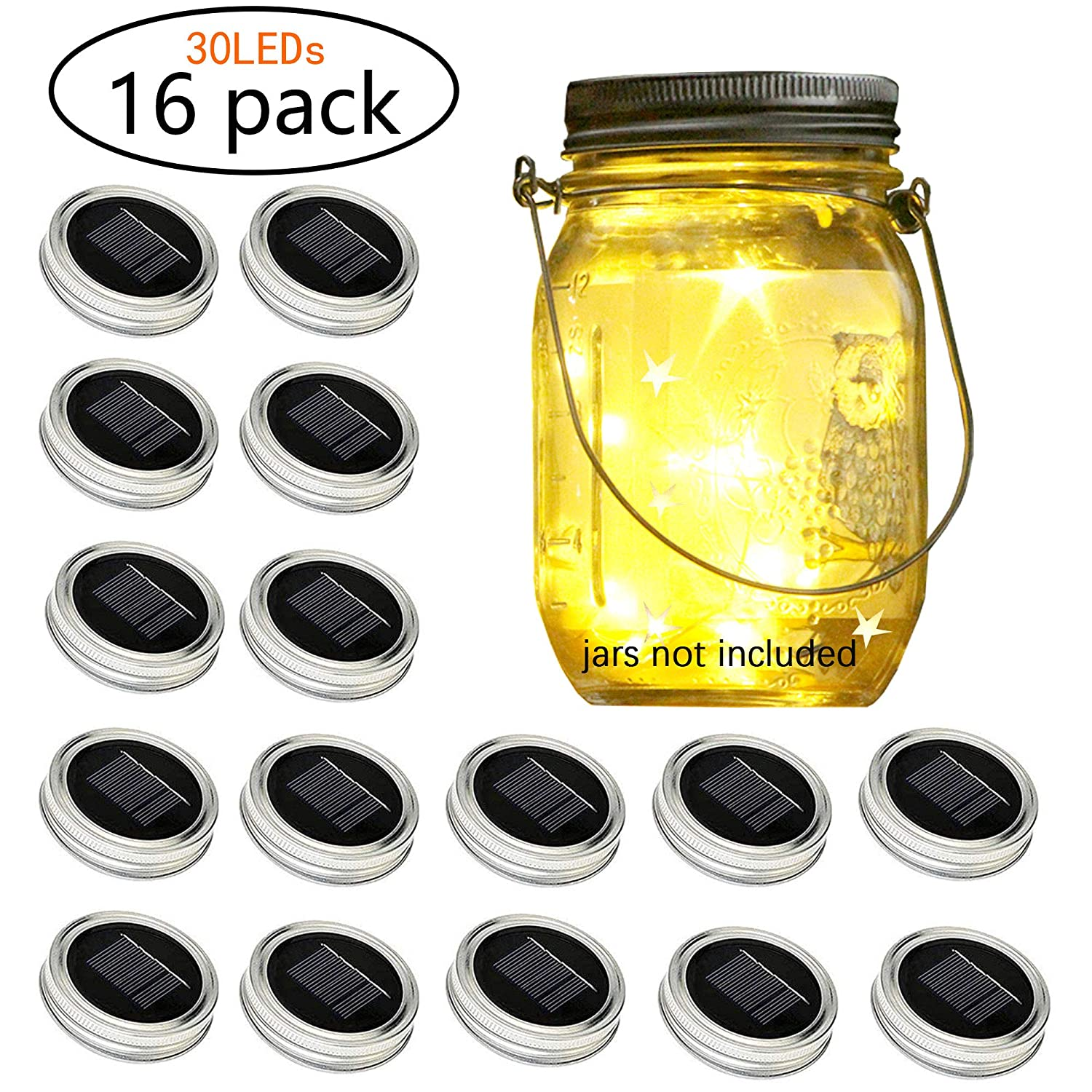 ARAn Solar-Powered Mason Jar Lid String Lights, 16 Packs of 30 LED Fairy Tale String Lights with (16 Hangers and 6 PVC) for Wedding, Courtyard, Garden, Family Party Birthday Party Decoration(No Jars)
