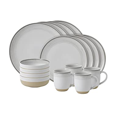 ED Ellen Degeneres Crafted By Royal Doulton Brushed Glaze 16-Piece Dinnerware Set in White