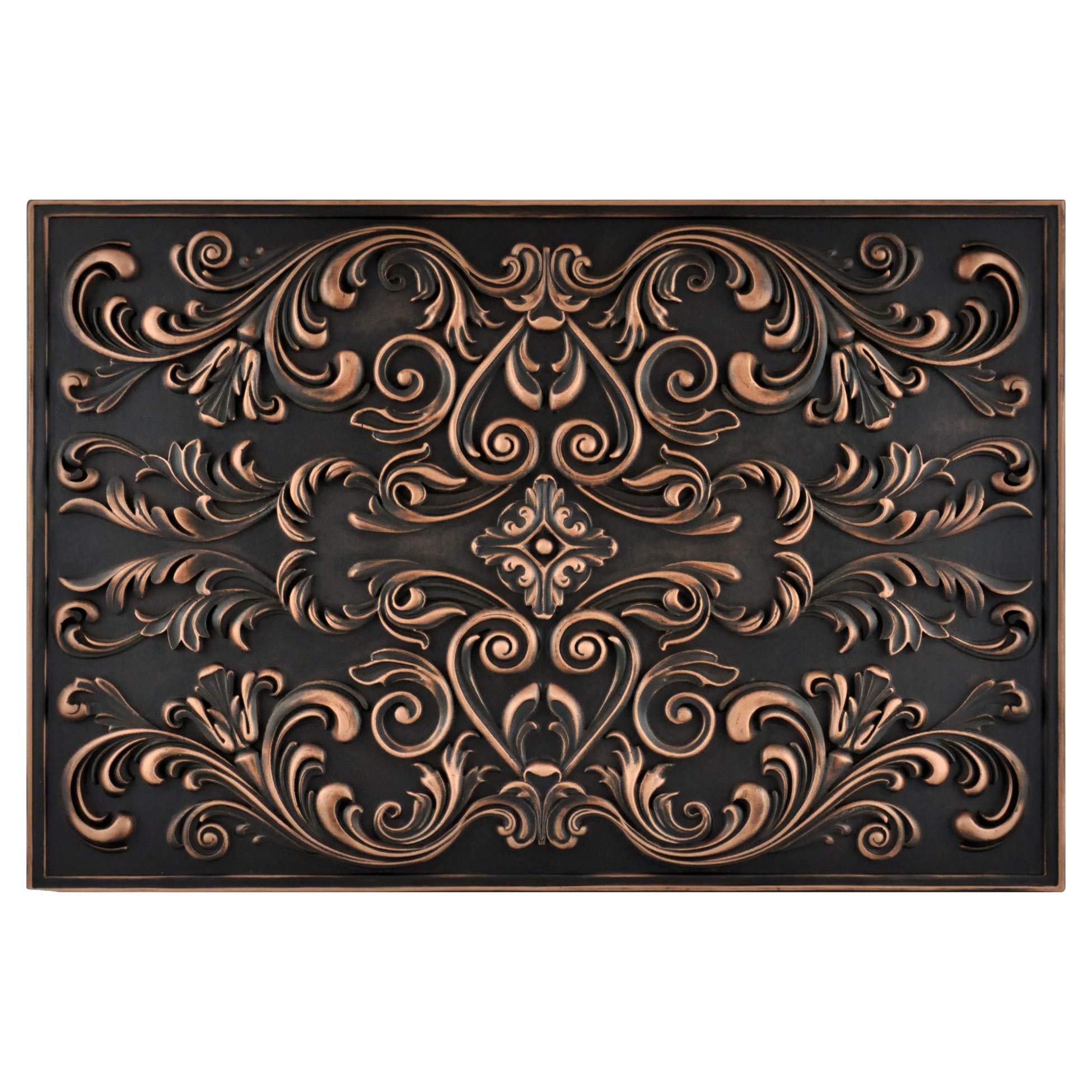 Vogue Tiles Kitchen Backsplash Premium Oil Rubbed Bronze Metal Resin Mural Medallion Hand Made Textured Tile