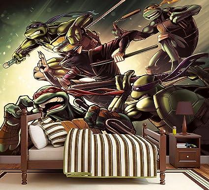 Amazon.com: Ninja Turtles TMNT Photo Wallpaper Woven Self ...