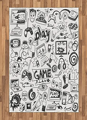 Ambesonne Video Games Area Rug, Monochrome Sketch Style Gaming Design Racing Monitor Device Gadget Teen 90 s, Flat Woven Accent Rug for Living Room Bedroom Dining Room, 4 X 5.7 , White and Black