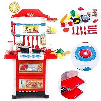 Kinderküche Kinder KP9080 Küche NEU Zubehör Töpfe Backofen Küchen  Spielküche ROT