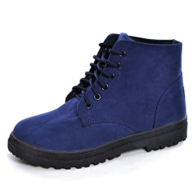 bbe37e62902a Hee grand Women's Fur Winter Snow Boots Cute Lace up Flat Platform Ankle  Booties Sneakers Boots
