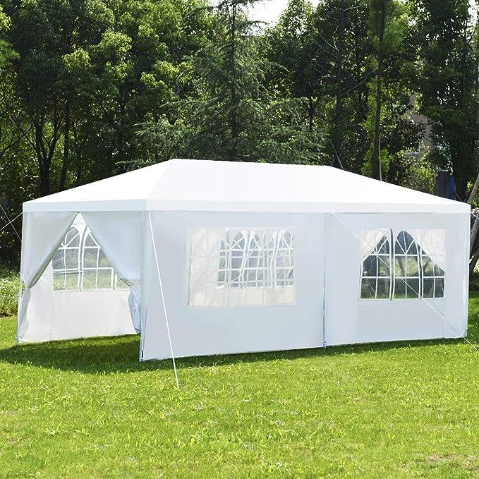 costway tienda de recepción 3 x 6 m Carpa de jardín Gazebo carpa lienzo de alta calidad con cuatro ventanas Blanca: Amazon.es: Jardín