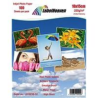 100 Blatt LabelHeaven Fotopapier 10x15 cm 230g/qm hochglänzend wasserfest