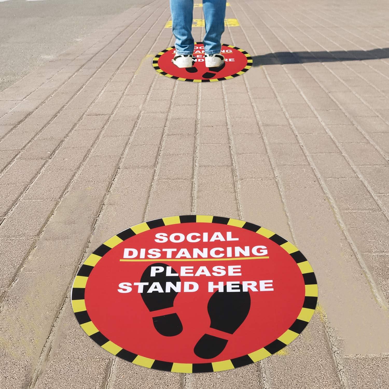 Ruisita 6 Pack Waterproof Social Distancing Floor Stickers Keep Distance Signs Vinyl Distance Stickers for Indoor or Outdoor Stand
