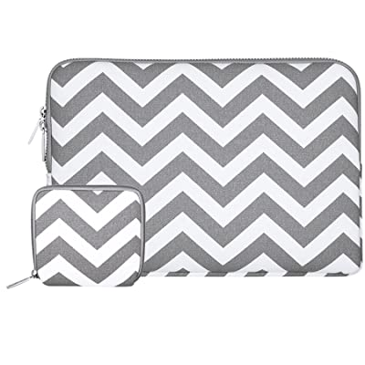 Mosiso Laptop Sleeve Bag for 13-13.3 Inch MacBook Pro, MacBook Air, Notebook with Small Case, Chevron Style Canvas Fabric Case Cover, Gray