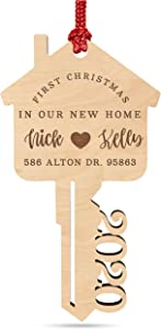 First Christmas in Our New Home, Personalized 2020 Key Christmas Ornament w/Your Address & Names, Custom Laser Engraved 4